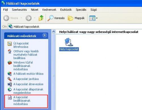 Windows XP: Hálózati kapcsolatok