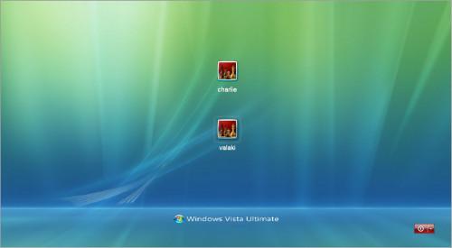 Vista stílusú bejelentkező képernyő