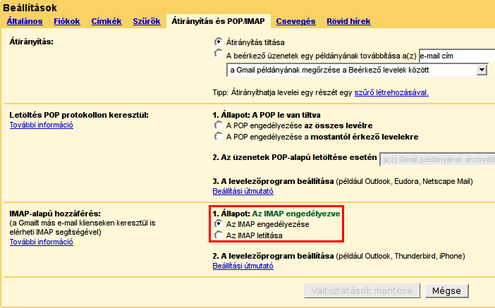 Gmail IMAP engedélyezés