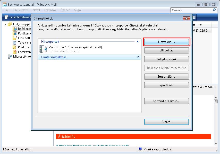 Windows Mail - Internetfiókok