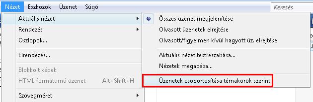 Windows Mail - csoportosítás