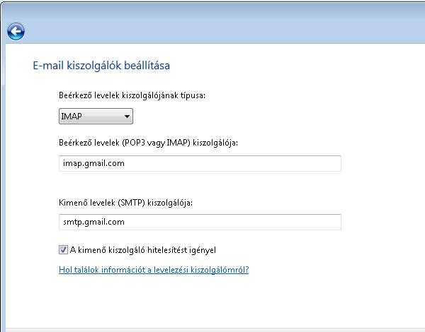 Windows Mail - Kiszolgálók