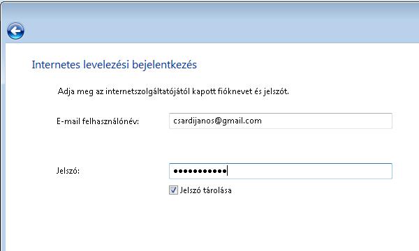 Windows Mail - Bejelentkezés