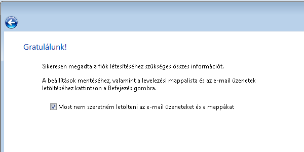 Windows Mail - Varázsló vége