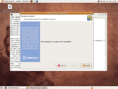 VMware Player telepítésének elkezdése