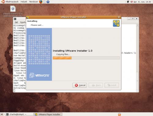 VMware Player telepítése: Fájlok másolása