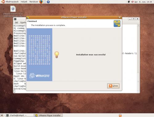 VMware Player: kész a telepítés
