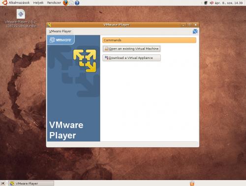 VMware Player indító felülete