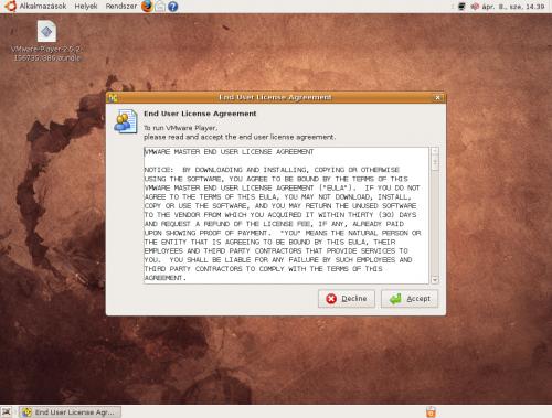 VMware Player első indítása, EULA elfogadása