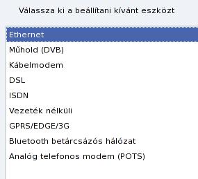 Választható internet csatlakozások