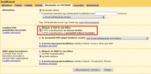 Gmail POP hozzáférés beállítása