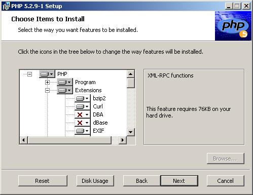 Telepítendő PHP kiterjesztések (modulok) kiválasztása