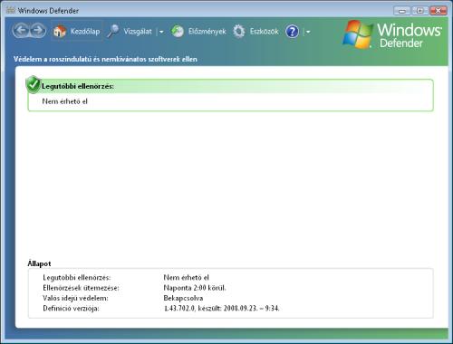 Windows Defender Kezdőlap