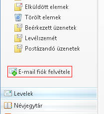 E-mail fiók felvétele