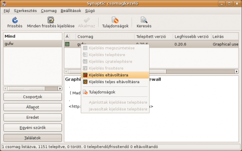 Gufw eltávolítása Synaptic csomagkezelő segítségével