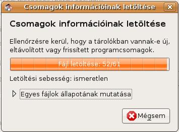 Csomagok információinak letöltése