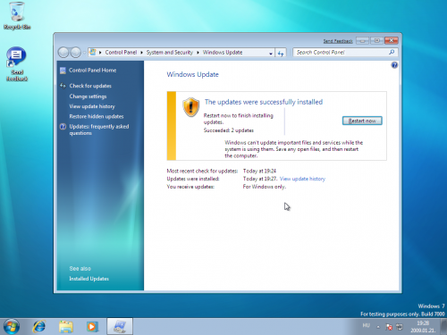Elérhető frissítések a Windows Updateon keresztül