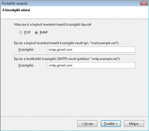 IMAP és SMTP kiszolgálók címei
