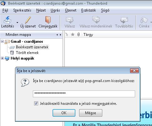 Gmail jelszó megadása
