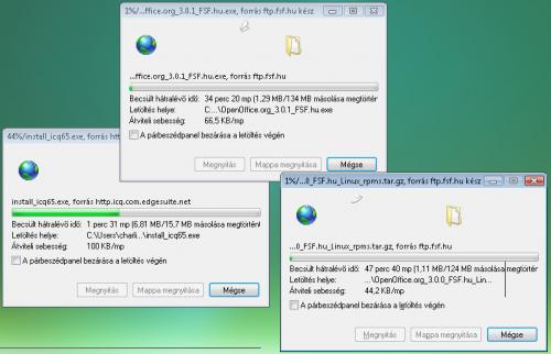 Internet Explorer 7: Három letöltés egyszerre