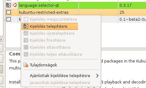 kubuntu-restricted-extras kijelölése telepítésre