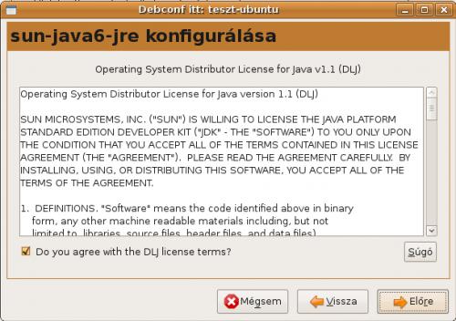Sun Java licenc elfogadása