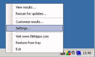 Jobb egérgomb az UpdateChecker programon