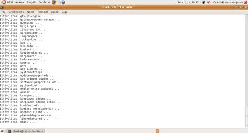 KDE eltávolítás folyamatban...