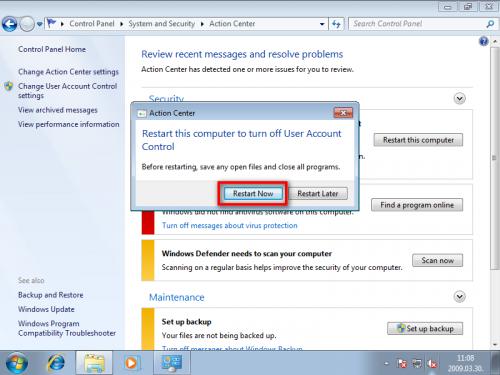 Windows 7 újraindítása