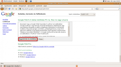 Google Föld letöltése Firefox böngészővel