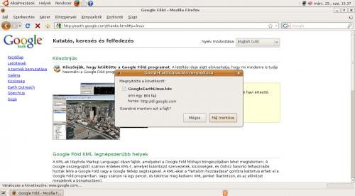 Google Föld telepítő mentése