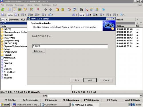 PHP5 telepítési mappájának kiváalsztása