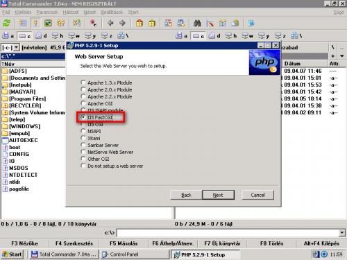 PHP5 webszerver modul kiválasztása