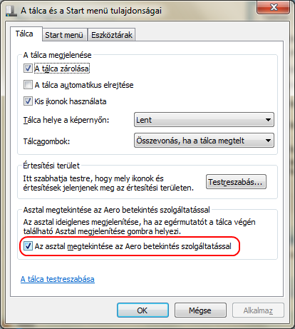 Windows 7: Tálca tulajdonságai