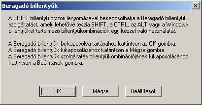 Beragadó billentyák ablak XP alatt