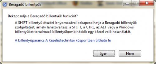 Beragadó billentyűk Windows 7 alatt