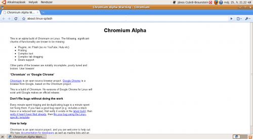 Chromium alpha állapot figyelmeztetés