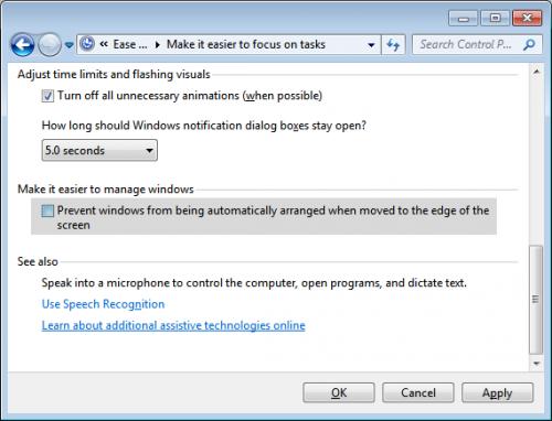 Windows 7: Vezérlőpult: Make it easier to focus on tasks