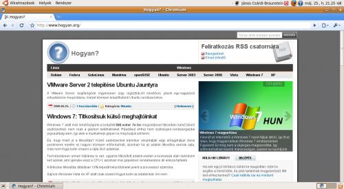 hogyan.org a Chromium böngészőben