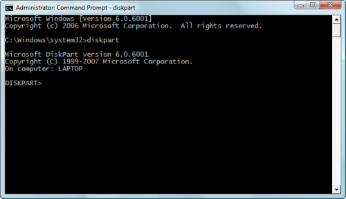 Diskpart Windows Vista alatt