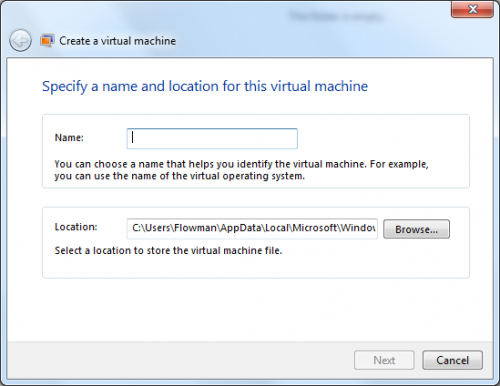 VirtualPC: Virtuális gép nevének és helyének megadása