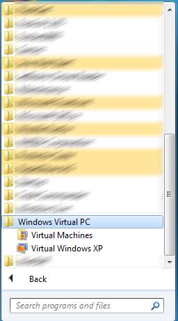 VirtualPC a Windows 7 Start menüben