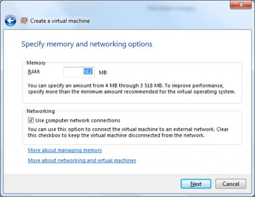 VirtualPC: memória és hálózat beállítások