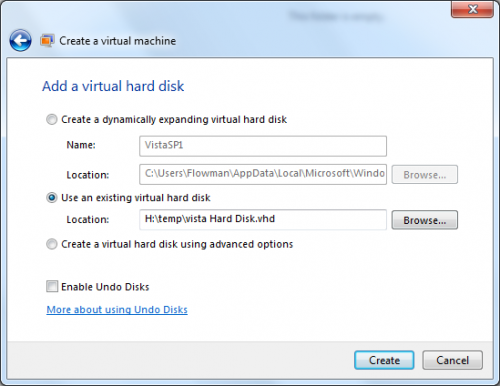VirtualPC: merevlemez beállítása