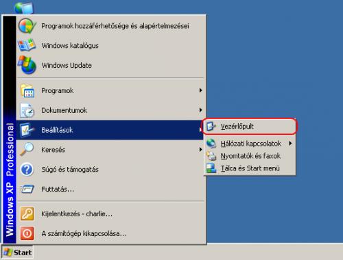 Windows XP Start menü