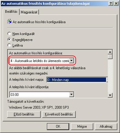 Automatikus frissítés konfigurálása házirend