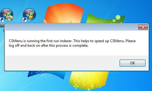 CSMenu First Run figyelmeztetés