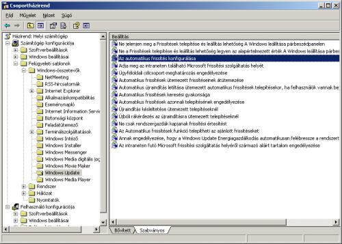 Csoportházirend-szerkesztő Windows XP esetén