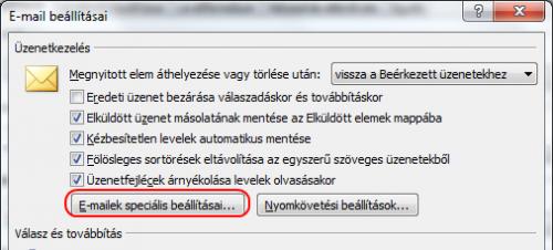 E-mail beállításai