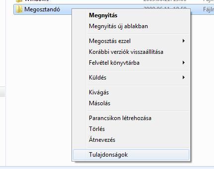 Mappa helyi menüje Windows 7 alatt
